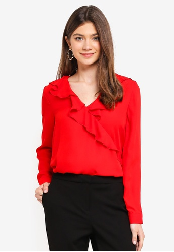 ONLY red Intu Frill Wrap Blouse 2B946AAF00B27CGS_1