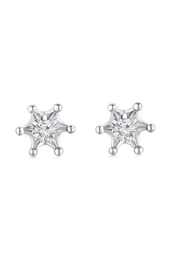 MaBelle silver 18K/750 White Gold Single Diamond Star Earrings 1694DAC3A70343GS_1