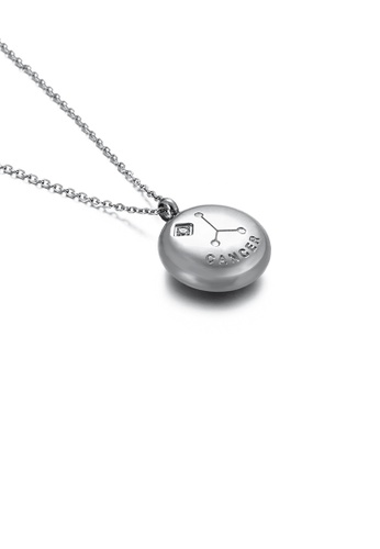 Glamorousky white Fashion and Simple Twelve Constellation Cancer 316L Stainless Steel Pendant with Cubic Zirconia and Necklace D162CAC18AD1B7GS_1