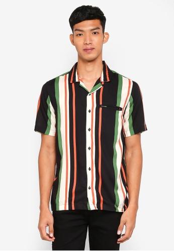Topman 多色 條紋短袖襯衫 5E310AAA3300F8GS_1