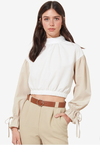 Trendyol white Color Block Tie Sleeve Detail Blouse AED1FAA942AA34GS_1
