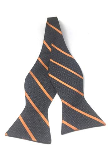 Splice Cufflinks black and grey Manual Series Orange Stripes Design Dark Grey Self-tied Man Made Silk Bow Tie SP744AC64UCHSG_1