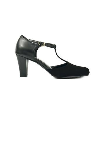 SHINE black Mary Jane Round Toe T Strap Pumps Block Mid Heels 10215SHE9FB2E8GS_1