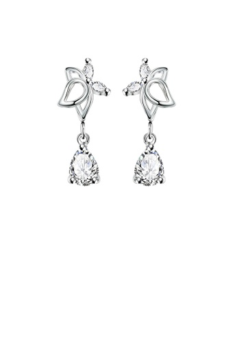 Glamorousky white Fashion Elegant Hollow Butterfly Cubic Zircon Earrings 30AE1ACD3362D2GS_1