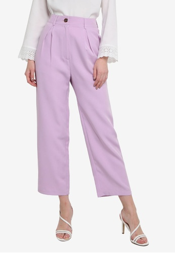 ZALORA WORK 紫色 Pleated Peg Leg Pants 56C0AAAF9C22C6GS_1