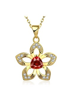 N892-A Luxurious Sakura Flower Pendant Ruby Inlay Plated Necklace