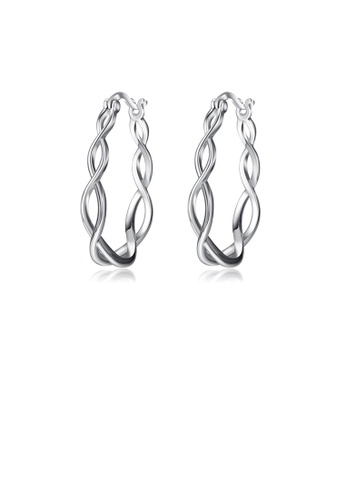 Glamorousky silver 925 Sterling Silver Simple Temperament Geometric Surround Earrings 1AD1FAC4816C8DGS_1