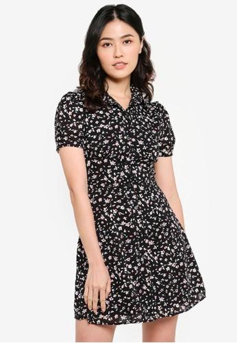 ZALORA BASICS black Puff Sleeve Button Down Mini Dress D28E0AAD30DB76GS_1