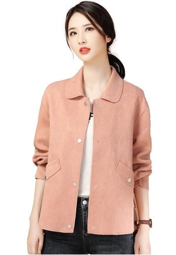 A-IN GIRLS pink Simple Faux Deerskin Velvet Lapel Coat 4A441AA3552022GS_1