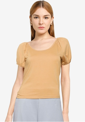 UniqTee brown Ruffled Sleeve Top 41A9FAAD53FB11GS_1