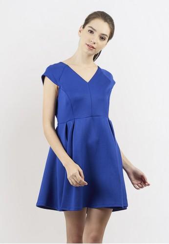 Blanik blue Yuan Cap Sleeve A-Line Mini Dress 023F1AA055523BGS_1