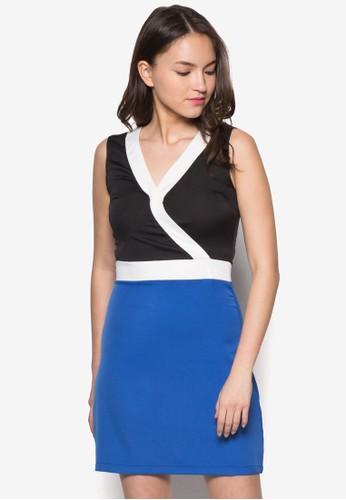 Blair 色塊裹飾連身zalora 順豐裙, 服飾, 洋裝