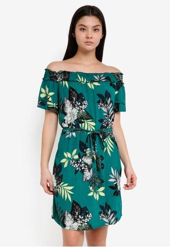 Dorothy Perkins green Green Floral Bardot Dress 55BBBAA0B78274GS_1