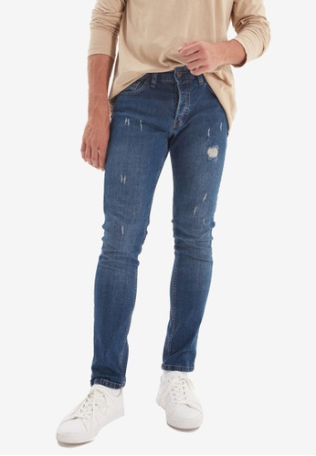 Trendyol blue Skinny Fit Distressed Jeans F96DAAADD80DC9GS_1