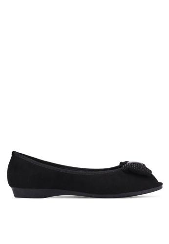 VINCCI black Diamante Bow Peep Toe Flats VI831SH0S51QMY_1