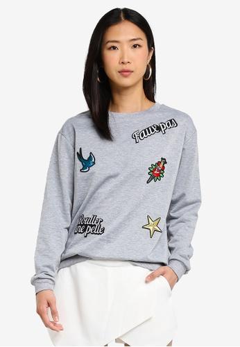 Brave Soul grey Sweatshirt With Badge Detail 6713DAA53AB893GS_1
