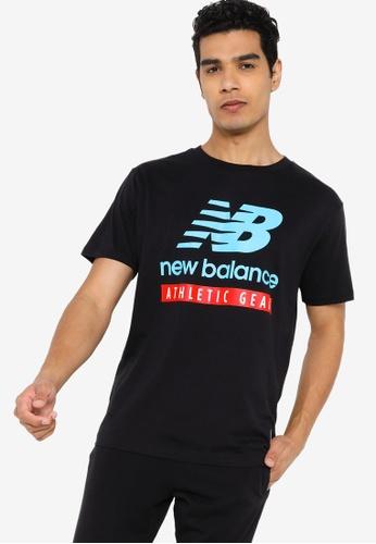 New Balance black and multi Essentials Logo Tee E25F6AA5F97EF2GS_1