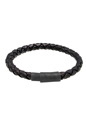 KUZZOI black Perhiasan Pria Perak Asli - Silver Gelang Leather Magnet Hitam D3F88AC9161557GS_1