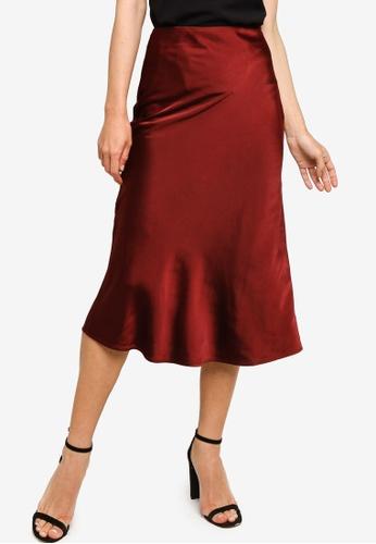 ZALORA OCCASION red Satin Bias Cut Midi Skirt 1549DAACBA25C0GS_1