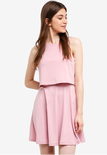 Something Borrowed pink Double Layer Fit And Flare Dress D4740AAC934D26GS_1