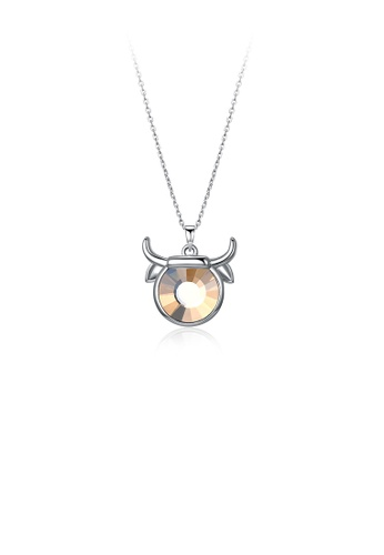 Glamorousky brown 925 Sterling Silver Fashion Taurus Pendant with Brown Austrian Element Crystal and Necklace E8E57ACF3E3726GS_1