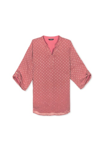 MS. READ pink MS. READ Nehru Collared Top (PINK) 686D2AA2D636CBGS_1