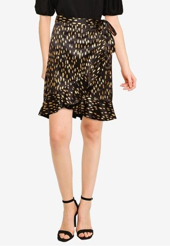Vero Moda black Gamma Foil Short Wrap Skirt 558ABAA9F4B908GS_1
