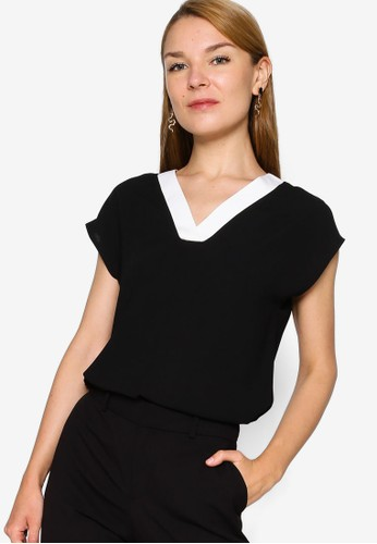 ZALORA WORK black Contrast Panel Top 735E8AAC6FC805GS_1