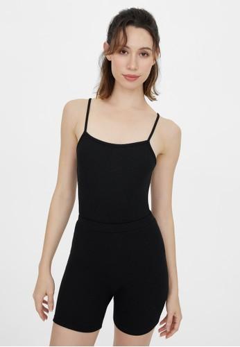 Pomelo black Ribbed Square Neck Bodysuit - Black 29016AA9672D11GS_1