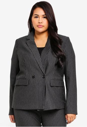 Only CARMAKOMA grey Plus Size Cargoldtrash Pinstripe Blazer 0CA96AAADA217CGS_1
