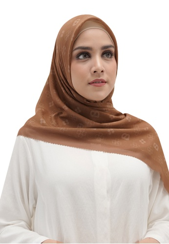 Buttonscarves brown Buttonscarves Monogram Voile Square Caramel 1F3EDAAE50E6BBGS_1