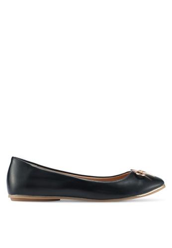 Bata 黑色 質感蝴蝶結平底鞋 625B9SHC854D5BGS_1