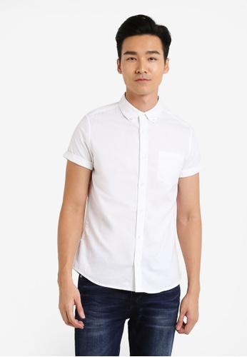 Burton Menswear London 白色 Short Sleeve White Oxford Shirt BU964AA43JTGMY_1