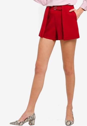 ZALORA 紅色 質感短褲 480F5AA247B1A4GS_1