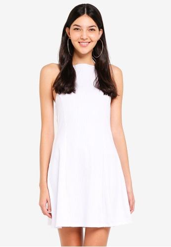 Supre white Rib Halter Flare Dress 79BEBAAE12E313GS_1