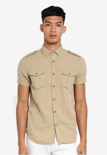 OVS brown Short Sleeve Shirt AE296AA208B245GS_1