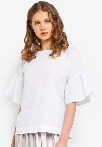 ESPRIT white Dotted Short Sleeve Blouse 8E26DAABCBD81FGS_1