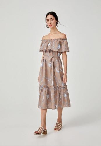Love, Bonito brown Auberon Off Shoulder Dress 4A3DEAA32E95D0GS_1