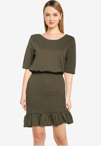 JACQUELINE DE YONG green Frulla Smock Dress 7F82BAA405F78EGS_1