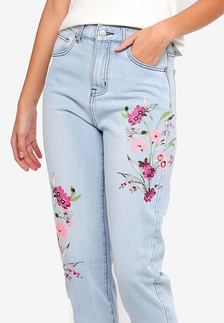 Printed Fit Light Mom ZALORA Blue Jeans PSxpSqwE