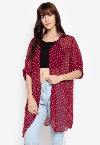 M and M red Kimono Printed Long 28A9AAA3BB72AEGS_1