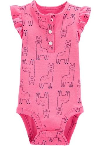 Carter's pink CARTER'S Girl Llamas Slogan Short Sleeve Bodysuit 3C11BKACFCB0EAGS_1
