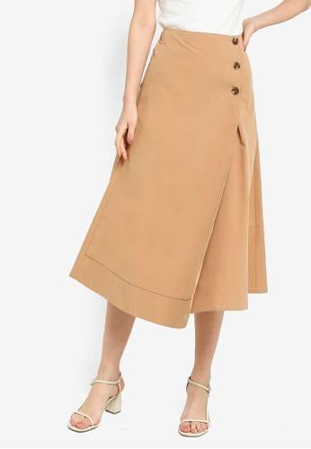 ZALORA WORK 褐色 Contrast Stitch 高腰交叉造型裙 38B01AA2A6CE81GS_1