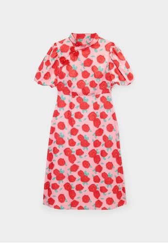 Pomelo pink Flower Print Midi Dress - Pink 4CE91AACF88C4EGS_1