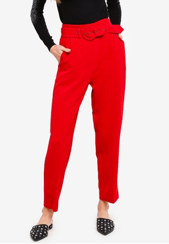 TOPSHOP red Covered Belt Tapered Trousers 80C4CAAC420798GS_1