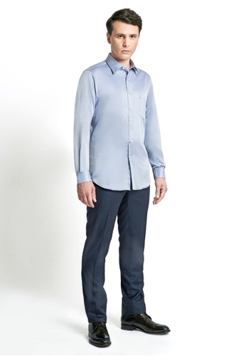 Gay Giano blue Slim Fit Spread Collar Dress Shirt with Chest Pocket C2B15AA633AEF0GS_1