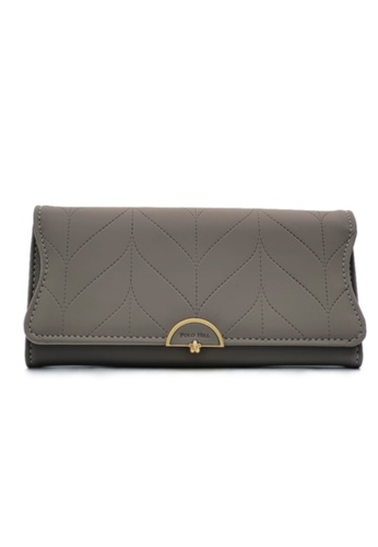 Polo Hill grey Polo Hill Ladies Leaf Inspired Stitching Long Wallet 99A15ACEA21822GS_1