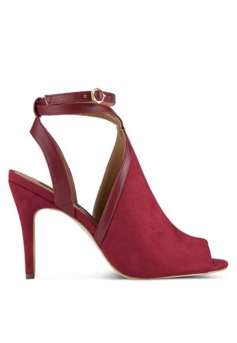 ZALORA 紅色 Strappy Peep-Toe Heel 5785CZZFD5B90DGS_1