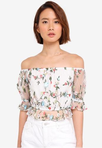 a142cbd95061c4 Miss Selfridge white White Embellished Mesh Bardot Top 5A9D2AA969FC27GS 1