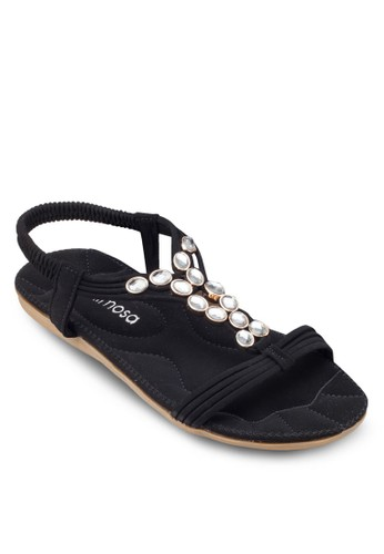 閃飾繞踝平底涼鞋,zalora時尚購物網評價 女鞋, 涼鞋